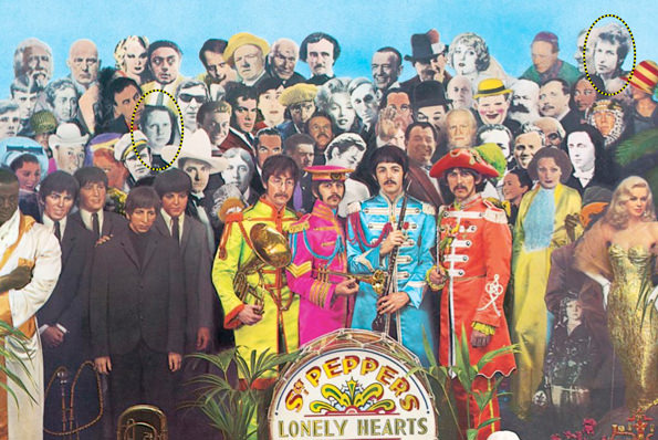Part of the cover of Sgt. Peppers Lonely Hearts Club Band, with Dylan Thomas (right) and Bob Dylan (left) identified